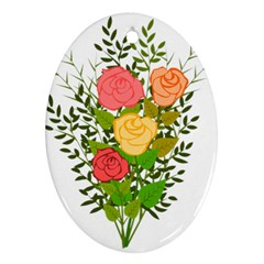 Roses Flowers Floral Flowery Ornament (oval)