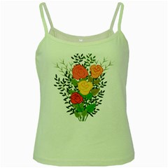 Roses Flowers Floral Flowery Green Spaghetti Tank