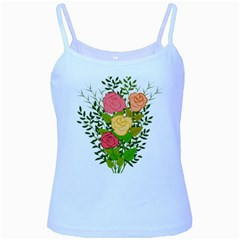 Roses Flowers Floral Flowery Baby Blue Spaghetti Tank