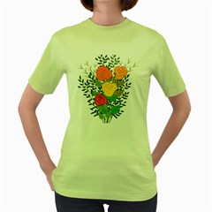 Roses Flowers Floral Flowery Women s Green T Shirt