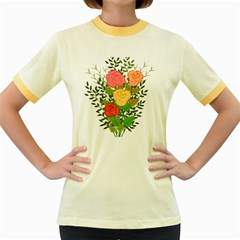 Roses Flowers Floral Flowery Women s Fitted Ringer T-Shirts