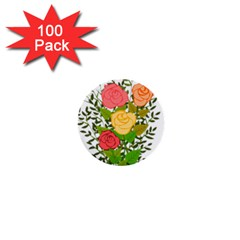 Roses Flowers Floral Flowery 1  Mini Buttons (100 Pack)