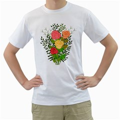 Roses Flowers Floral Flowery Men s T Shirt (white) (two Sided)