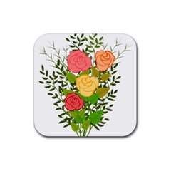 Roses Flowers Floral Flowery Rubber Coaster (square)