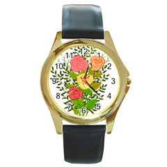Roses Flowers Floral Flowery Round Gold Metal Watch