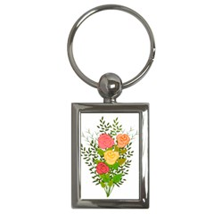Roses Flowers Floral Flowery Key Chains (rectangle)
