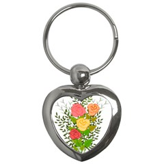 Roses Flowers Floral Flowery Key Chains (Heart)