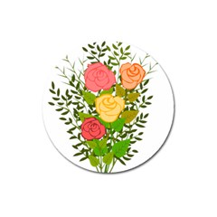 Roses Flowers Floral Flowery Magnet 3  (round)