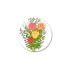 Roses Flowers Floral Flowery Golf Ball Marker