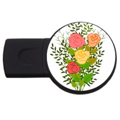 Roses Flowers Floral Flowery USB Flash Drive Round (2 GB)