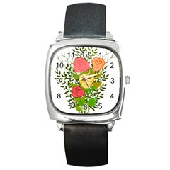 Roses Flowers Floral Flowery Square Metal Watch