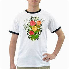 Roses Flowers Floral Flowery Ringer T Shirts