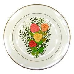 Roses Flowers Floral Flowery Porcelain Plates