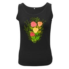Roses Flowers Floral Flowery Women s Black Tank Top