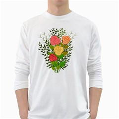 Roses Flowers Floral Flowery White Long Sleeve T Shirts