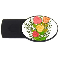 Roses Flowers Floral Flowery USB Flash Drive Oval (4 GB)