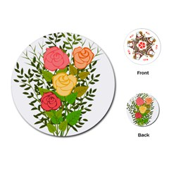 Roses Flowers Floral Flowery Playing Cards (round)