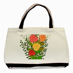 Roses Flowers Floral Flowery Basic Tote Bag