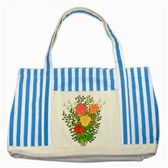 Roses Flowers Floral Flowery Striped Blue Tote Bag