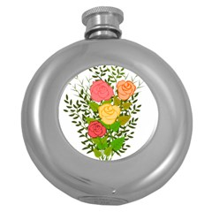 Roses Flowers Floral Flowery Round Hip Flask (5 Oz)