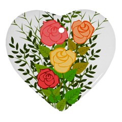 Roses Flowers Floral Flowery Heart Ornament (two Sides)