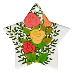 Roses Flowers Floral Flowery Star Ornament (Two Sides)