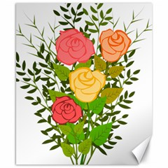Roses Flowers Floral Flowery Canvas 8  X 10