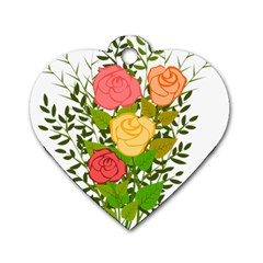 Roses Flowers Floral Flowery Dog Tag Heart (one Side)