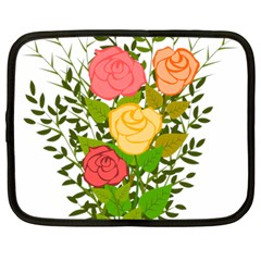 Roses Flowers Floral Flowery Netbook Case (Large)