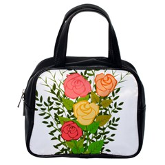 Roses Flowers Floral Flowery Classic Handbags (one Side)