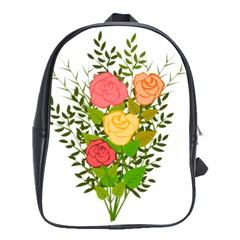 Roses Flowers Floral Flowery School Bags(Large)