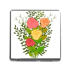 Roses Flowers Floral Flowery Memory Card Reader (Square)