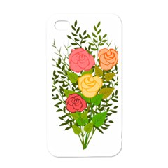 Roses Flowers Floral Flowery Apple Iphone 4 Case (white)