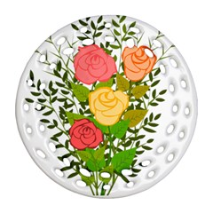 Roses Flowers Floral Flowery Ornament (round Filigree)