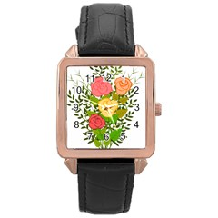 Roses Flowers Floral Flowery Rose Gold Leather Watch