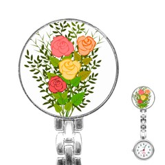 Roses Flowers Floral Flowery Stainless Steel Nurses Watch