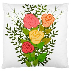 Roses Flowers Floral Flowery Large Flano Cushion Case (one Side)