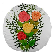Roses Flowers Floral Flowery Large 18  Premium Flano Round Cushions