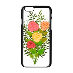 Roses Flowers Floral Flowery Apple Iphone 6/6s Black Enamel Case