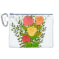 Roses Flowers Floral Flowery Canvas Cosmetic Bag (XL)