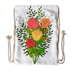 Roses Flowers Floral Flowery Drawstring Bag (Large)