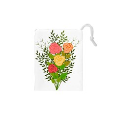 Roses Flowers Floral Flowery Drawstring Pouches (xs)