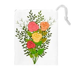 Roses Flowers Floral Flowery Drawstring Pouches (Extra Large)