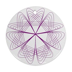 Purple Spirograph Pattern Circle Geometric Ornament (round)