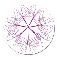 Purple Spirograph Pattern Circle Geometric Magnet 5  (round)