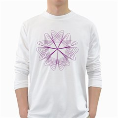 Purple Spirograph Pattern Circle Geometric White Long Sleeve T Shirts