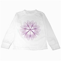 Purple Spirograph Pattern Circle Geometric Kids Long Sleeve T-Shirts