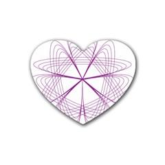Purple Spirograph Pattern Circle Geometric Rubber Coaster (Heart)
