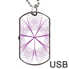 Purple Spirograph Pattern Circle Geometric Dog Tag Usb Flash (two Sides)
