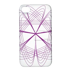 Purple Spirograph Pattern Circle Geometric Apple iPhone 4/4S Hardshell Case with Stand